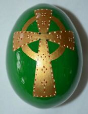 Hand Painted Green Gold Cross Decorative Easter Egg Religious European Vintage