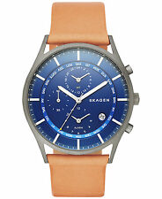 BRAND NEW SKAGEN SKW6285 HOLST NATURAL LEATHER BAND BLUE CHRONO DIAL MEN'S WATCH