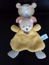 A6- DOUDOU PLAT BABY NAT babynat' OURS FRUIT JAUNE BEIGE PIEDS RAYE - NEUF