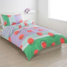 "Single Bed Kids / Girls ""Bright Spot"" Green & Purple Quilt / Doona Cover Set"