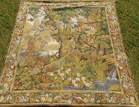 "Large 9'x8' Flemish Tapestries Belgium Wall Tapestry ""Greenery And Birds"" w COA"