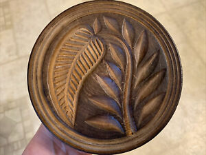 19th Century Lg Sz Butter Print Of Leaves Extra Nice Deep Carved & Well Detailed