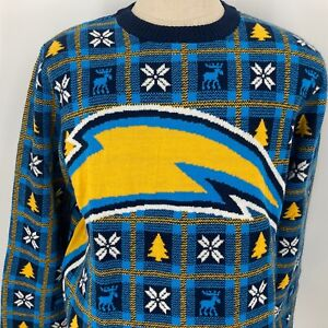 NWT San Diego Chargers Foco NFL Bolts Blue Winter Sweater Size Large Xmas Tree