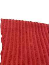 """Vtg 2 yards Chenille ribbed Cotton Fabric Red Craft Quilt 56"""" x 72"""" Bty"""
