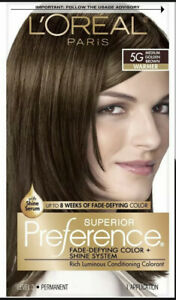 L'Oreal Superior Preference Permanent Hair Color (5G Medium Golden Brown) SEALED
