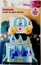 Melissa & Doug Disney Princess Cinderella Carriage Wooden Train Castle Toy Set