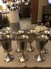 SET OF 7 WATER/ WINE VINTAGE SILVER PLATED? GOBLETS