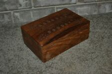Antique Hand Made Carved Wood Brass Inlay Design Treasure Trinket Jewelry Box