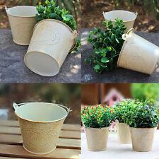 Mini Metal Round Flower Plant Pot Nursery Planter Home Garden Balcony Yard Decor