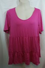 Size 1X Soprano Plus Size Short Sleeve Tiered Flared Top Pink *runs small?*
