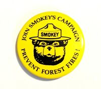 """Join Smokey's Campaign * Vintage 1 3/8"""" Pin Pinback * Prevent Forest Fires"""