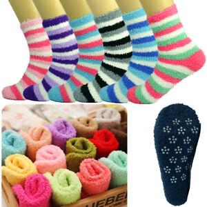 For Womens 10 Pairs Soft Winter Non-Skid Cozy Fuzzy Striped Slipper Socks 9-11
