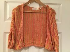 Charlie & Robin Anthropologie Orange & Pink Beaded Sweater, Size Small