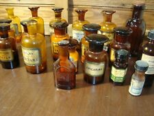 Antique Set Of 20 - 19th Century Pharmacy Amber Glass Bottles Apothecary