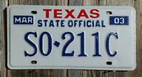 "TEXAS ""STATE OFFICIAL"" LICENSE PLATE  (OFFICIAL STATE ISSUED PLATE)"