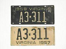 Virginia VA 1957, 1958 License Plates Same # A3-311 Original Condition