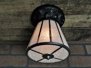 Vintage Antique Cast Iron 1930's Porch Light Ceiling Fixture Flush Mount