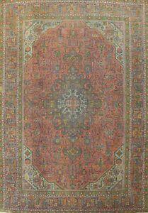 Antique Geometric Tebriz Overdyed Handmade Area Rug Wool Oriental Carpet 9'x12'