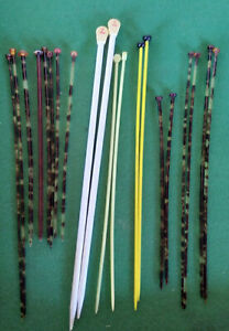 Collectable Knitting Needles-Assorted Sizes Faux Tortoiseshell & Plastic-lot-21