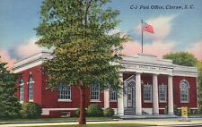 Post Office Cheraw South Carolina SC, American Flag - Old Vintage Linen Postcard