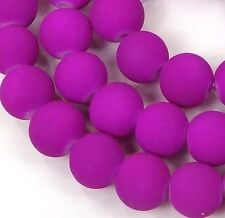 """8mm Matte Frosted Neon Rubberized Glass Round Beads -  Magenta / Purple 16"""""""