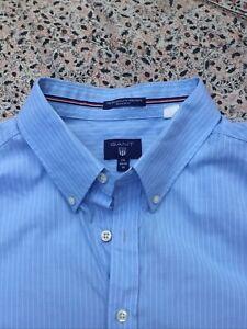GANT - The Broadcloth - Pale Blue - White Striped - Short Sleeve - Shirt - XXL