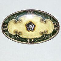 Vintage unsigned Pierre Bex style Art Nouveau revival enamel rhinestone oval pin