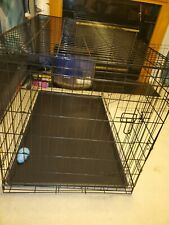 Black Pet Folding Cage Kennel with Abs Tray Lc 48-Inch Local pickup only