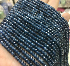 "NATURAL 2x4MM blue ink roundel faceted gemstone kyanite loose beads 15 ""AAA"