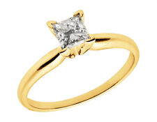 Ladies 14K Yellow Gold Princess Genuine Diamond Solitaire Engagement Ring 1.0ct