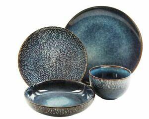 Gibson Elite Matisse 16-Piece Double Bowl Dinnerware Set, Cobalt Blue, NEW!