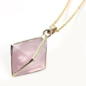 Octagon Design Natural Rose Quartz Gems Yellow Gold Plated Necklace Pendant