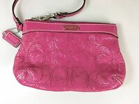 Coach Magenta Pink Patent Leather Signature Stitched C Wristlet  w Hang Tag