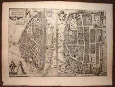 carte geographique ville de CHARTRES et CHATEAUDUN par BRAUN et HOGENBERG