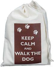 Keep Calm E Passeggiata Il Cane-Piccolo Cotone Naturale Coulisse Borsa-DOGGY PET