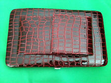 Burgundy Red Croco Grain Clutch Wallet with Detachable Strap NEW