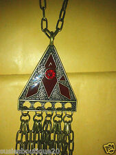 Ladies TopShop Red Enamel Triangle Tassle Chain Pendant Fabulous Gift BNWT