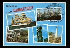 Modern Greetings postcard Stamp views Connecticut CT lighthouse ships houses
