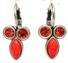 SoHo® Ohrhänger mit 8/4 bohemia glas & Kristall Strass orange coral hyazinth