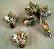Tortolani vintage earrings & brooch 3 pc. set gold color/faux pearls, signed