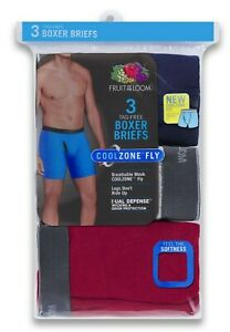 Fruit of the Loom Men's Boxer Briefs 3 Pack Underwear Cotton Colors Vary S-3XL