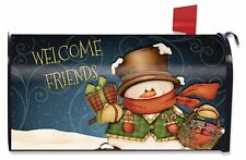 Welcome Friends Snowman Christmas Mailbox Cover Primitive Presents Standard