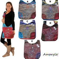 PROMO  Sac ethnique artisanat Népal Grande besace Tissu Coton Fleurs brodées Zip