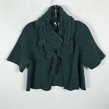 Moth Anthropologie Sweater Cardigan Cropped Size S Wool Nylon Green Short Sleeve