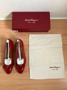 Salvatore Ferragamo Vara Bow Pump Shoes Ladies Shoes Red Leather UK 8EU 41