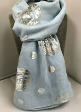 Ladies Pastel Blue Scarf with Silver Foil circle spots soft feel spotty gift NEW