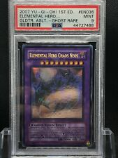 Yu-Gi-Oh! 1st Edition Elemental Hero Chaos Neos Ghost Rare GLAS-EN036 PSA 9 Mint