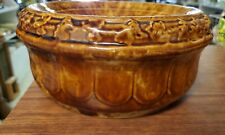 Vintage Yellow Brown Spongeware Ornate Spittoon