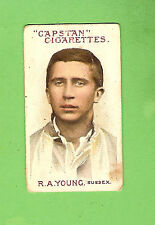 #D72. AUSTRALIAN & ENGLISH  CRICKETERS CIGARETTE CARD 1908  #70  R.A. YOUNG