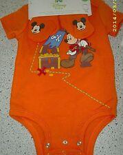 #1395 DISNEY BABY ORANGE SHORT SLV BODYSUIT & BOOTIES BOY INFANT 3-6 MO NEW